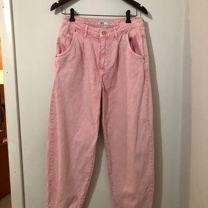 Zara Straight Leg Washed Pink Mom Jeans/ Size: 6